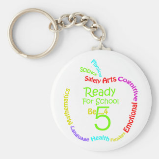 Ready for School B4Five - Apple Basic Round Button Keychain