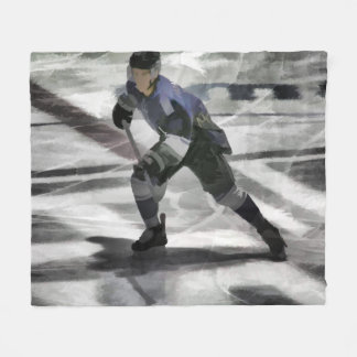 Ready For The Puck- Ice Hockey Player Fleece Blanket