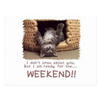 ready for the weekend kitten postcard