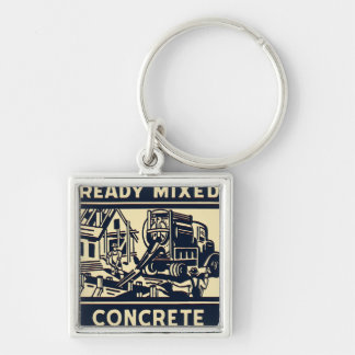 Ready Mixed Concrete Silver-Colored Square Keychain