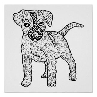 Ready to Color Hippie Puppy Poster