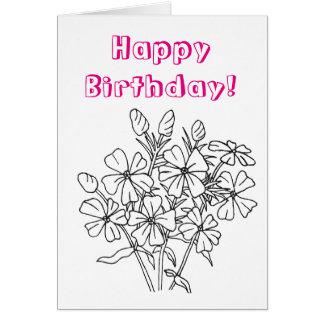 Ready to Color Phlox Flower Birthday Card