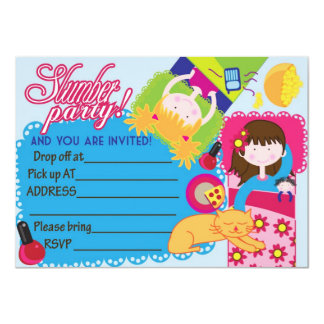 Ready to fill Slumber girls sleepover party invite
