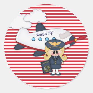 Ready to Fly Pilot Airplane Stripes Girl Sticker