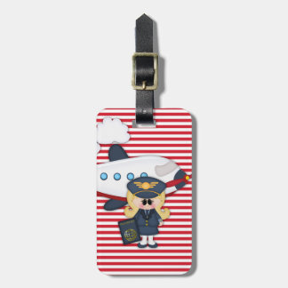 Ready to Fly Pilot Airplane Stripes Girl Sticker Luggage Tag