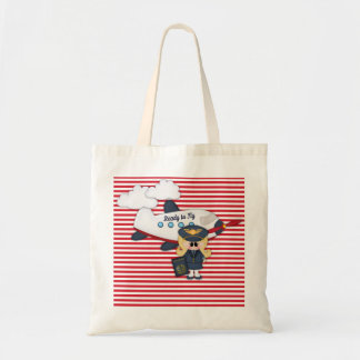 Ready to Fly Pilot Airplane Stripes Girl Tote Bag