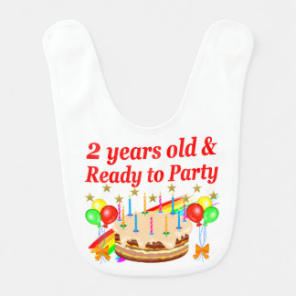 READY TO PARTY 2ND BIRTHDAY CAKE DESIGN BIBS