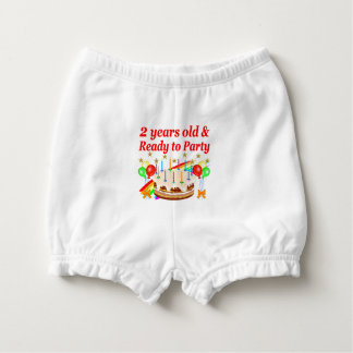 READY TO PARTY 2ND BIRTHDAY CAKE DESIGN DIAPER COVER
