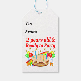 READY TO PARTY 2ND BIRTHDAY CAKE DESIGN PACK OF GIFT TAGS