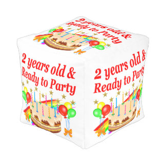 READY TO PARTY 2ND BIRTHDAY CAKE DESIGN POUF
