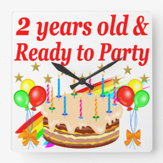 READY TO PARTY 2ND BIRTHDAY CAKE DESIGN WALL CLOCKS