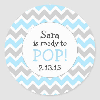 Ready to Pop Baby Shower Favor / blue chevron Round Sticker