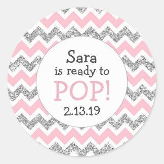 Ready to Pop Baby Shower Favor pink silver glitter Round Sticker