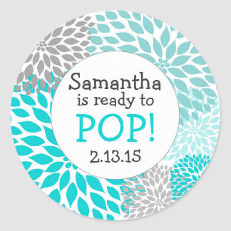 Ready to Pop Baby Shower Favor / turquoise mums Classic Round Sticker