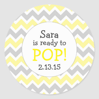 Ready to Pop Baby Shower Favor / yellow chevron Round Sticker
