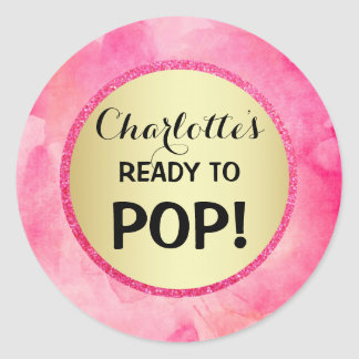 READY TO POP Baby Shower Gold Pink Watercolor Classic Round Sticker