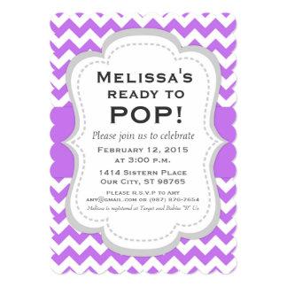 Ready to Pop Baby Shower Invitation, Chevron Card