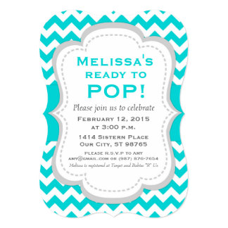 Ready to Pop Baby Shower Invitation, Teal Chevron Card