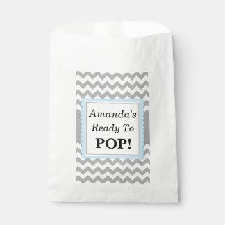 Ready To Pop Favor Bags, Chevron and Blue, custom Favour Bag