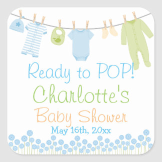 Ready To POP! Lil Clothes Blue & Green Baby Shower Square Sticker