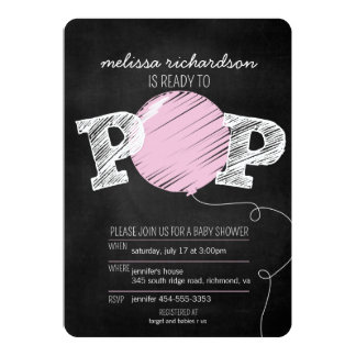 Ready to Pop Pink Balloon Girl Baby Shower Invite