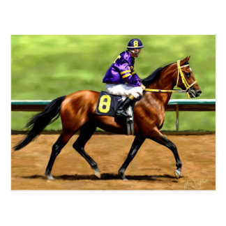 Ready to Run - Race Horse Painting Postcard
