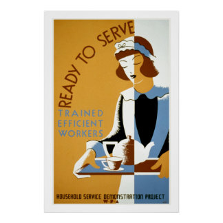 Ready to Serve Vintage WPA Poster