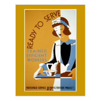 Ready to Serve Vintage WPA Poster Postcard