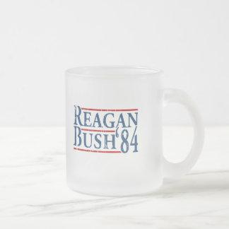Reagan Bush '84 Frosted Glass Mug