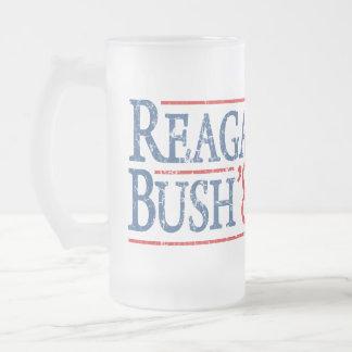 Reagan Bush 84 Retro Election Frosted Glass Mug