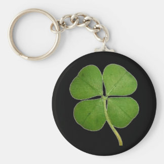 Real 4 Leaf Clover Shamrock Black Basic Round Button Keychain