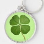Real 4 Leaf Clover Shamrock Silver-Colored Round Keychain
