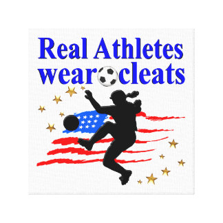 REAL ATHLETES WEAR CLEATS SOCCER DESIGN CANVAS PRINT