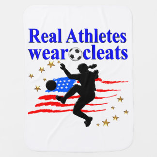 REAL ATHLETES WEAR CLEATS SOCCER DESIGN RECEIVING BLANKET