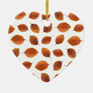 Real Autumn Leaves Pattern Ceramic Heart Ornament