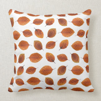 Real Autumn Leaves Pattern Throw Pillow