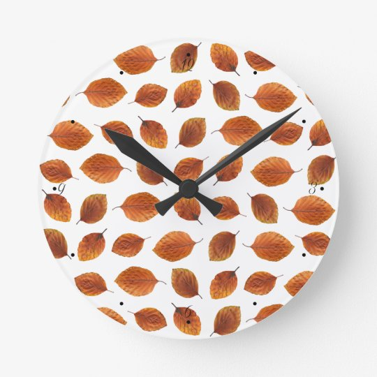 Real Autumn Leaves Pattern Wall Clock