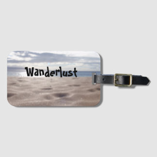 Real beach photo luggage tag (Wanderlust)