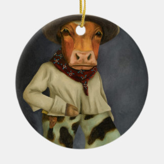 Real Cowboy 2 Round Ceramic Ornament
