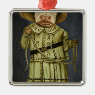 Real Cowgirl 2 Silver-Colored Square Ornament