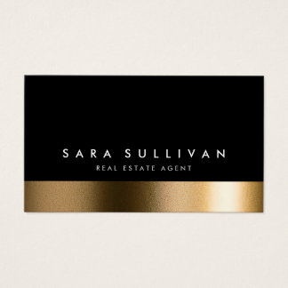 Real Estate Agent Bold Black Gold Business Card