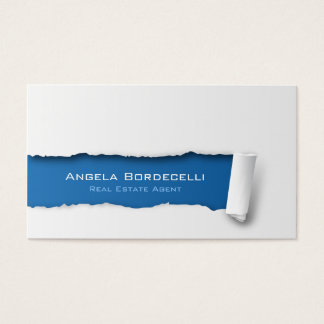 Real Estate Agent Business Card Ripped Paper
