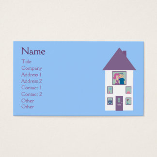 Real Estate Agent Cute Cartoon House & Couple Business Card