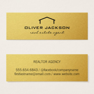 Real Estate Agent Gold Elite Mini Business Card