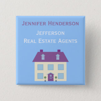 Real Estate Agents Staff Name Tag 2 Inch Square Button