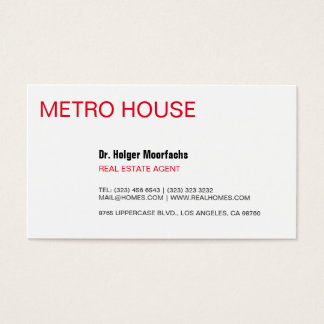 Real Estate black & red Business Card
