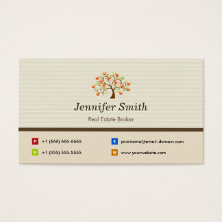 Real Estate Broker - Elegant Tree Symbol Business Card