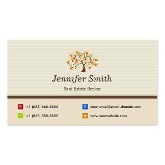 Real Estate Broker - Elegant Tree Symbol Pack Of Standard Business Cards