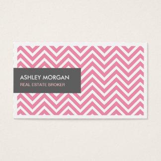 Real Estate Broker - Light Pink Chevron Zigzag Business Card