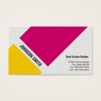 Real Estate Broker - Simple Pink Yellow Business Card